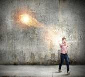 Man throwing fire ball — Stock Photo