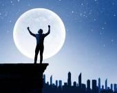 Man and full moon — Stock Photo