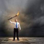 Man with torch — Stock Photo