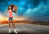Autostop traveling — Stock Photo