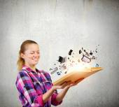 Girl with book — Stock Photo
