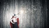 Superkid with trumpet — Stockfoto