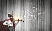 Superkid  playing violin — Stock Photo