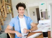 It is great to feel so much at home when at work — Stock Photo