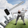 Two business people fighting with each other — Stock Photo #70579601