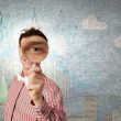 Guy looking in magnifying glass — Stock Photo #70900661