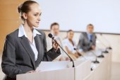 Speaker at stage — Stock Photo