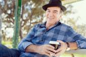 Nice morning in the park with coffee — Stock Photo