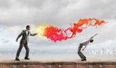Two business people fighting with each other — Foto de Stock