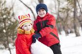 Winter active games — Stock Photo