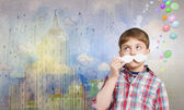 Boy with mustache — Stock Photo