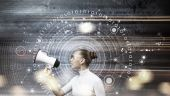 Girl and technologies of the future — Stock Photo