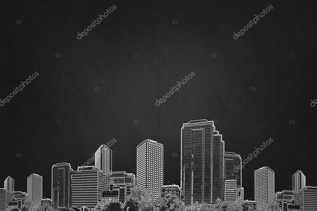 用记号笔的手绘图城市建筑物特写