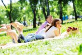 Picnic in garden — Stock Photo