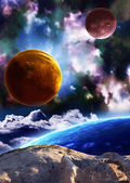 Beautiful space scene with planets and nebula — Stock Photo