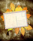 Fondo grunge con hojas de otoño — Foto de Stock