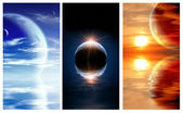 Set of banners with landscape in fantasy planet — Stock Photo