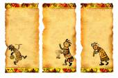 Set of banners with African traditional patterns — Stock Photo