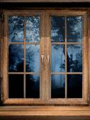 Wooden window and misty forest — Stock Photo