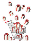 Shopping cart and gifts — Stock Photo