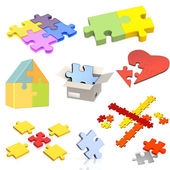 Set of parts of a puzzle — Foto Stock