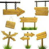 Uppsättning av trä skyltar — Stockfoto