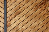 Ancient wood with metal plank — Stock Photo
