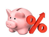 Piggy bank and percent symbol — Stock Photo