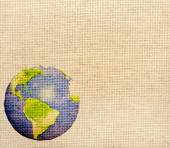 Abstract world map printed on canvas texture — Stock Photo