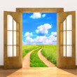 Open door in field — Stock Photo #74197329