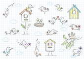 Set of cute birds — Stock Vector