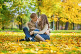 Dating couple on a bright fall day — Stock fotografie
