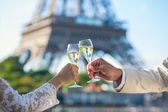 Just married couple drinking champagne — Stock Photo