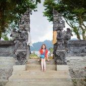 European tourist in Pura UlunDanu Bratan — Foto Stock