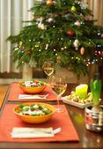 Ingerichte kerstmis eettafel — Stockfoto