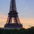 Closeup of Eiffel tower at sunrise — Stock Photo #53266815