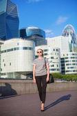 Confident woman in business district of Paris — Foto Stock