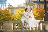 Happy just married couple in Paris — Stock Photo