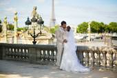 Bride and groom in the Tuileries garden of Paris — Stock Photo