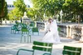 Bride and groom in the Tuileries garden of Paris — Zdjęcie stockowe