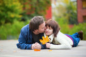 Romantic couple on a fall day — Stock Photo