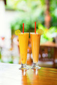 Delicious fresh juices on a tropical resort — Stock Photo