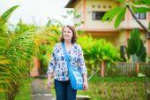 European tourist walking in Ubud, Bali — Stock Photo