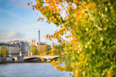 Scenic view of the Eiffel tower across the Seine — Stock Photo