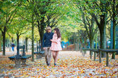Couple walking together on a fall day in Paris — Stock Photo