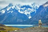 Stacked stones in Torres del Paine national park — Stock Photo