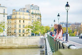 Happy dating couple walking in Paris — Stock Photo