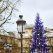 Streetlamp and Christmas tree in the background — Stock Photo #60178193