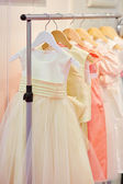 Collection of dresses for little bridesmaids — Stock Photo