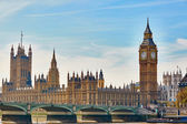 Big Ben with river Thames, London — Stock fotografie